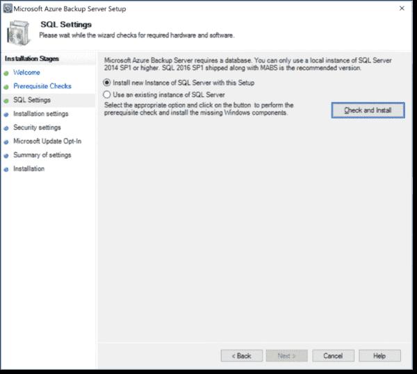 Configuring SQL settings
