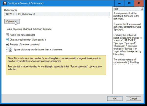 Configuring password dcitionaries