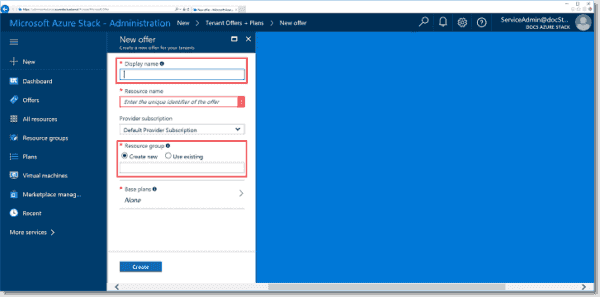 Creating an offer in MAS (Image Credit Microsoft)