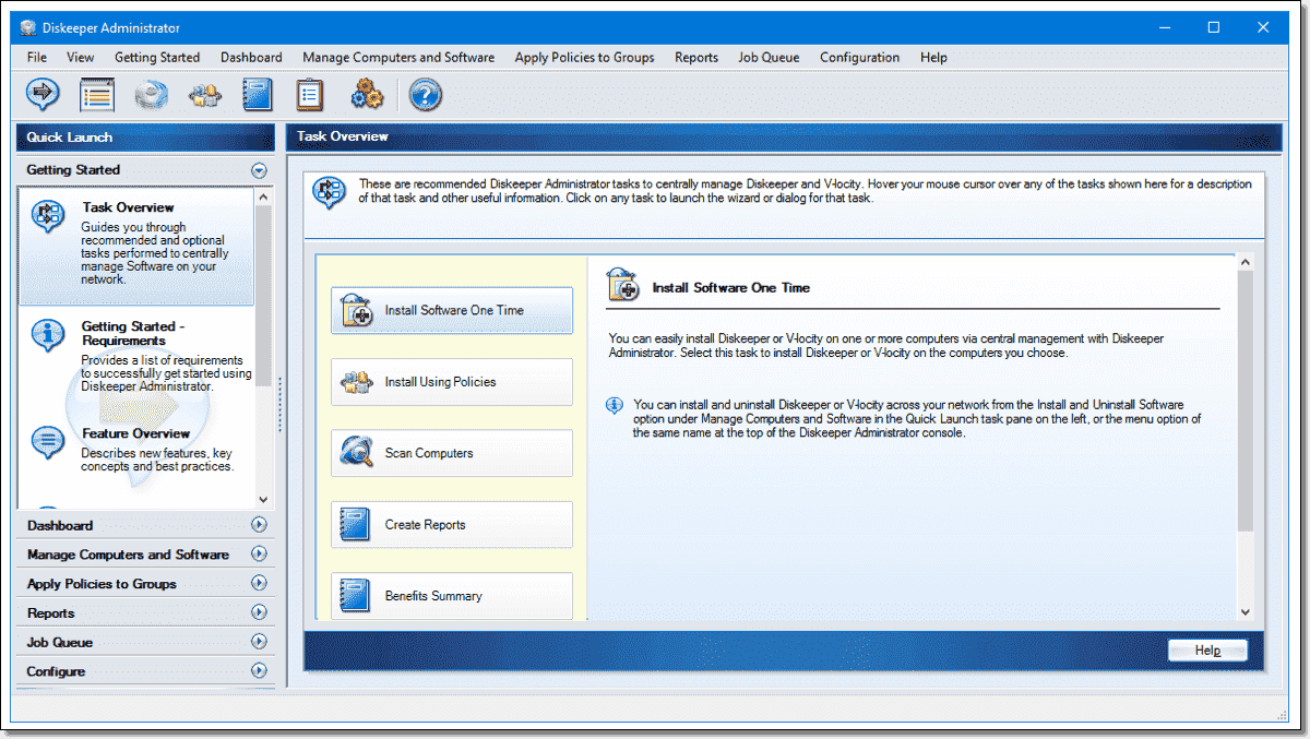 Diskeeper 18 Administrator console