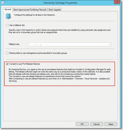 Enable the prerelease features for SCCM