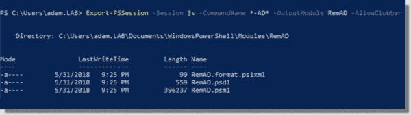 Exporting cmdlets with Export PSSession