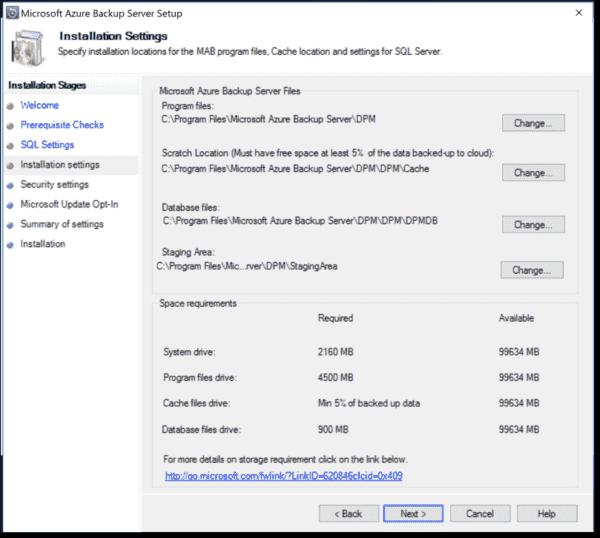 Installation settings