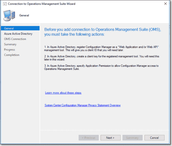 Instructions for integrating SCCM with OMS