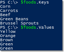 Keys and Values properties