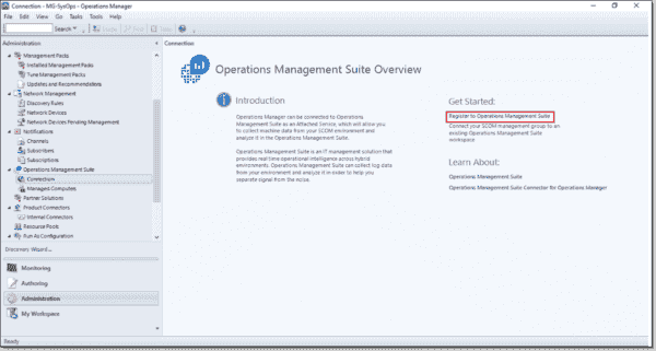 Open the OMS connection via the Operations Manager console