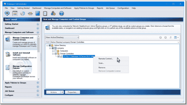 Remote control in Diskeeper 18 Administrator