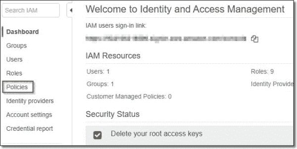 Select Policies in the AWS Management Console IAM