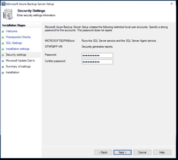 Specify SQL account password