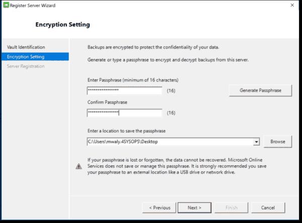Specify encryption settings