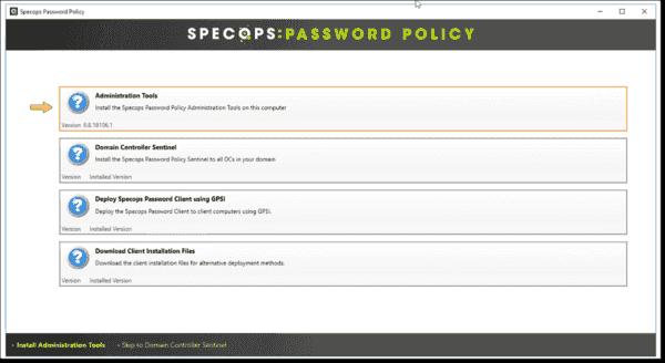 Specops Password Policy installation wizard