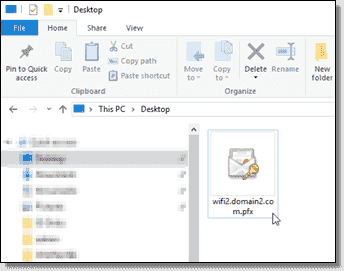 Certificate file on the desktop