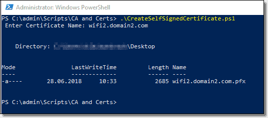 Create a certificate with a PowerShell script