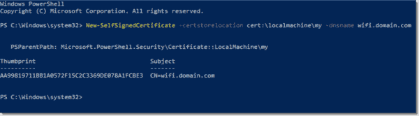 Creating a self signed certificate with New SelfSignedCertificate