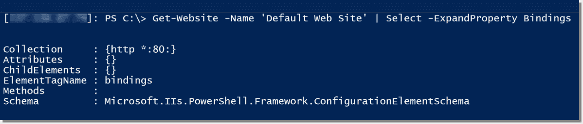 Display IIS website bindings with PowerShell