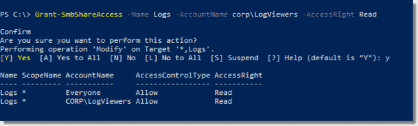 Granting Read permissions to the Logs share