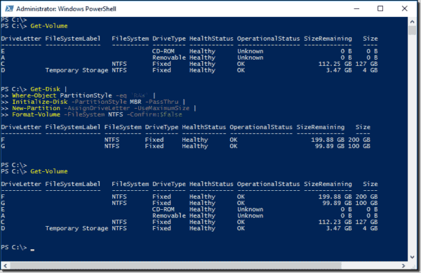 Managing storage with PowerShell