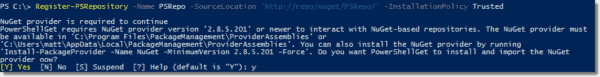 Registering a NuGet feed repository