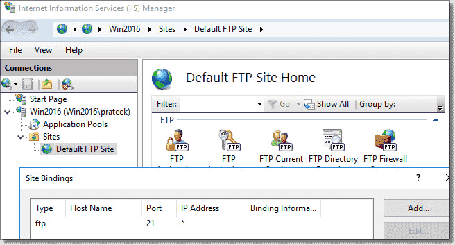 The FTP site in IIS