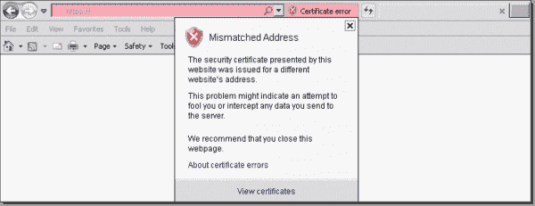 Browser showing certificate naming mismatch
