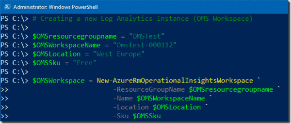 Creating a new Log Analytics (OMS) workspace
