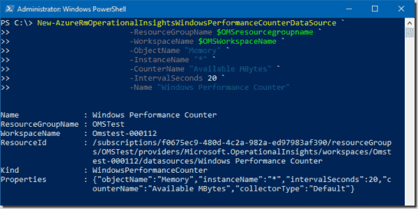Creating a new data source to collect performance counter logs from a VM