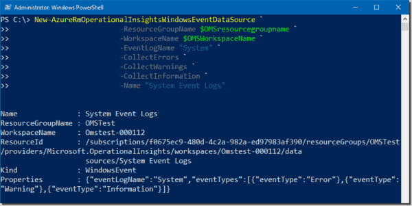 Creating a new data source to collect system logs from a VM