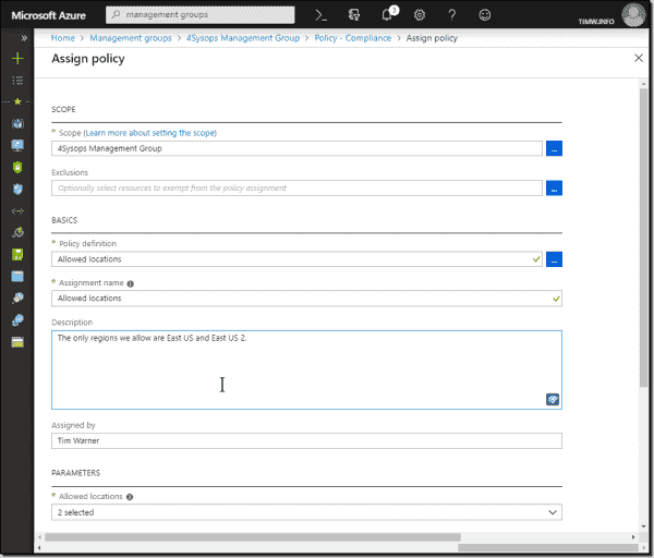 Defining an Azure Policy using a built in definition