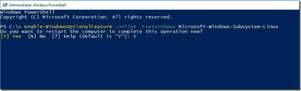 Enable the Windows Subsytem on Linux feature