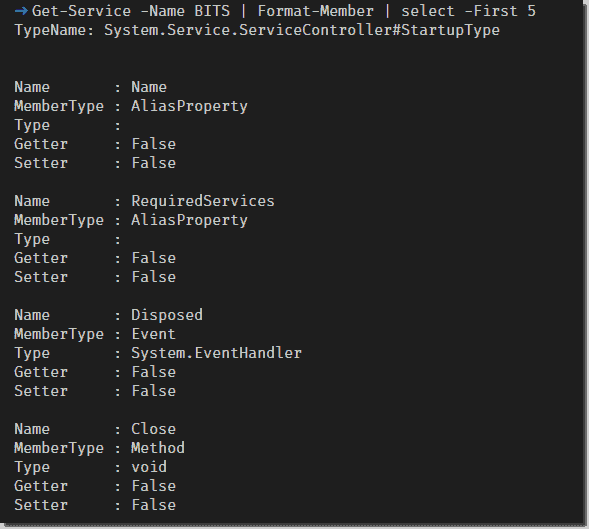 Example output from Format Member