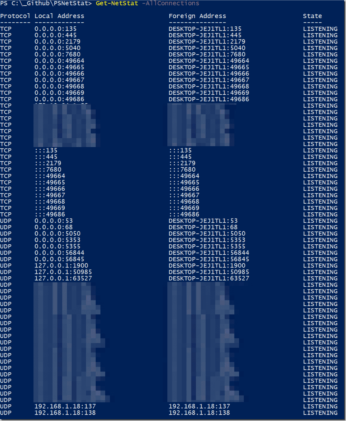 A PowerShell implementation of netstat exe – 4sysops