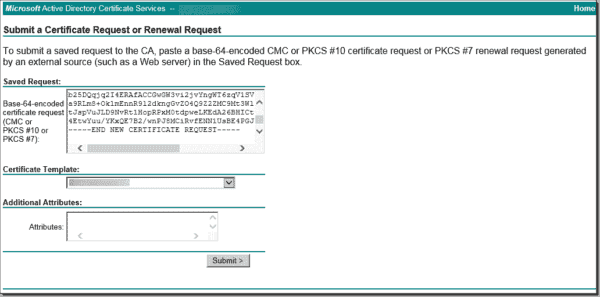 Pasting the file content into the CA web enrollment page