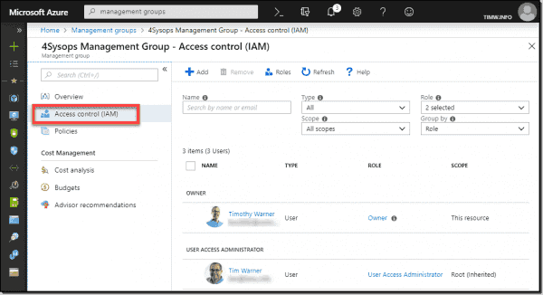 RBAC permissions at the management group level