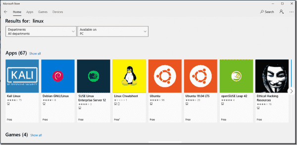 Search for Linux in the Microsoft Store