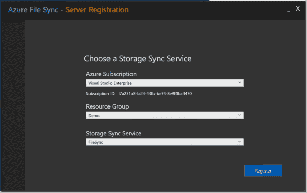 Specify the Azure sync service subscription, resource group, and the service itself