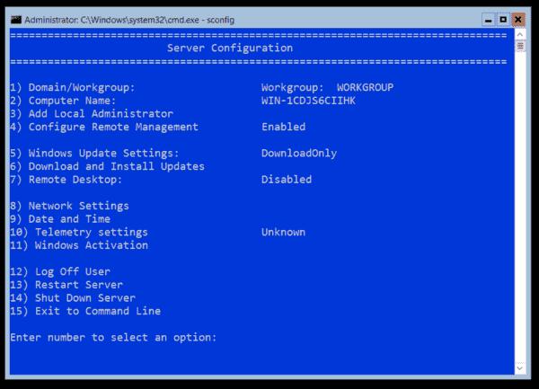 Use sconfig to configure the server locally