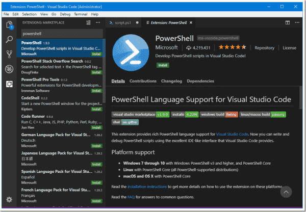 Install the PowerShell VSCode extension