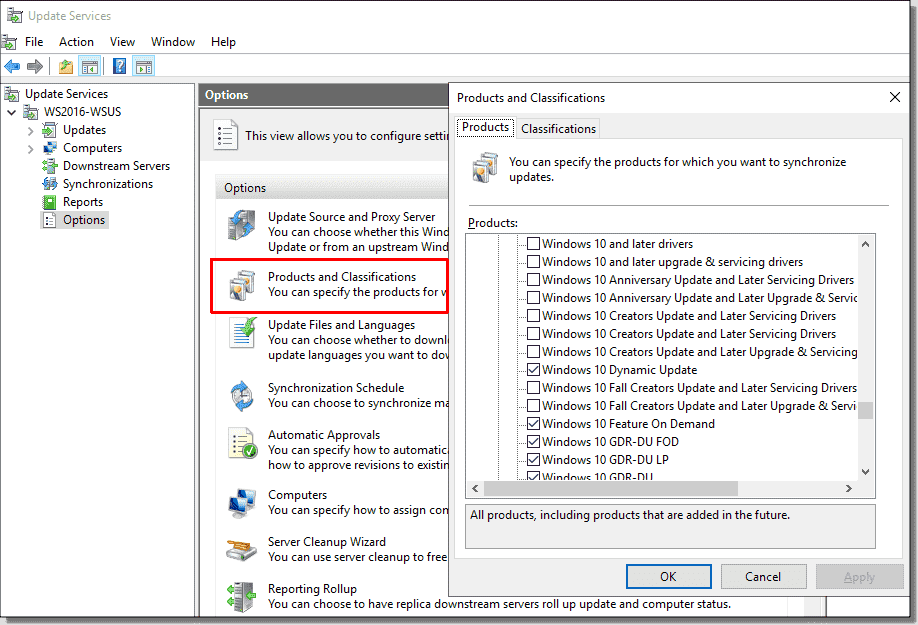 Selecting products in WSUS for Windows 10 – 4sysops
