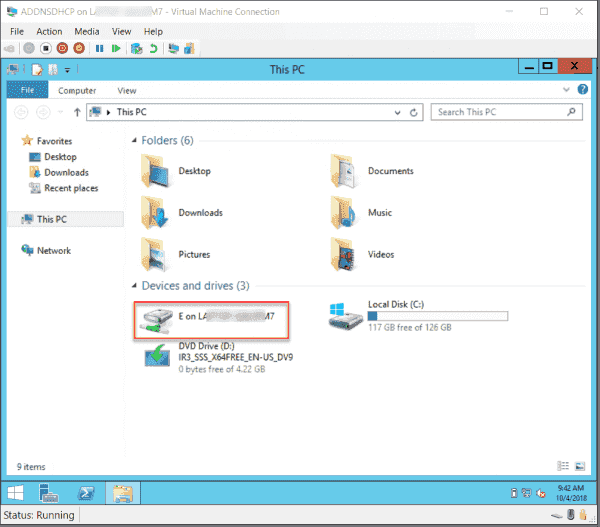 Drive E: host is accessible from within the VM
