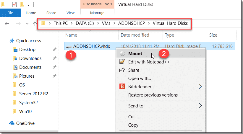 Locate and mount the VM disk