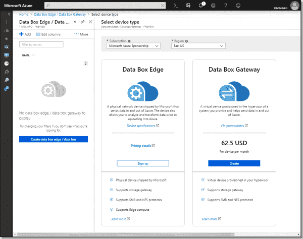 Ordering a Data Box Edge appliance in the Azure portal