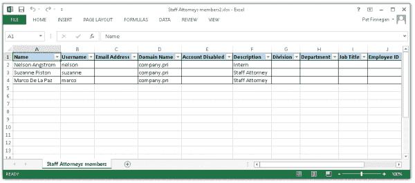 Reporting group membership in Excel
