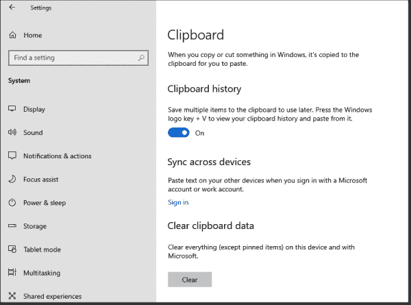 The extended clipboard, which can store multiple objects, is not activated by default