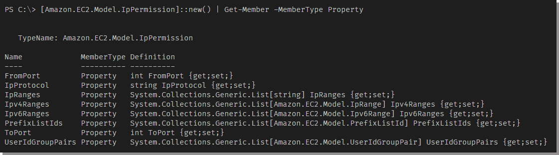 Viewing the instance properties available