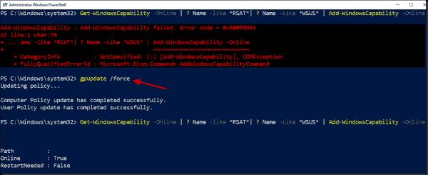 A successful installation of RSAT after running gpupdate