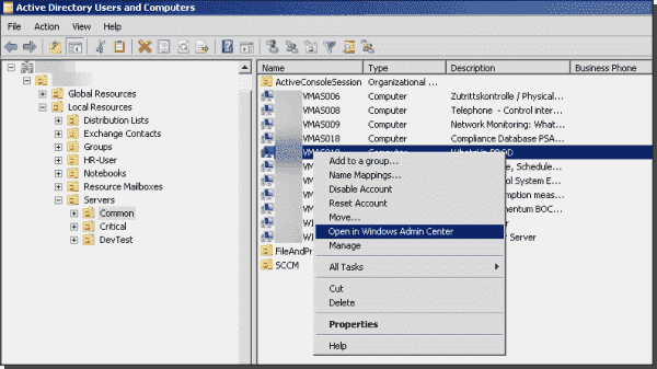 ADUC showing the extended computer object context menu