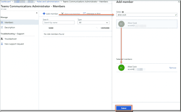 Adding a member to an administrator role in Azure Portal