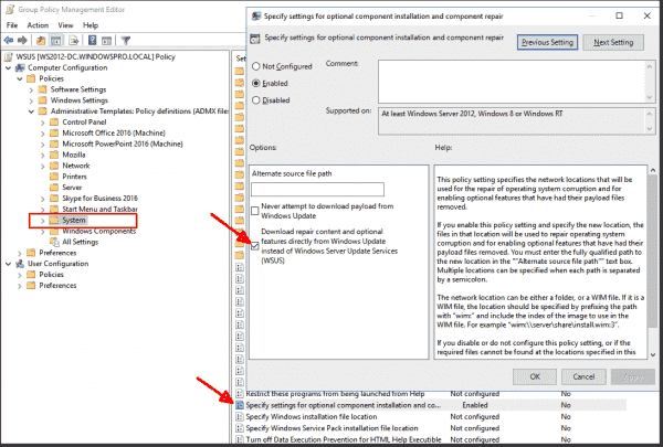 Allowing WSUS clients to access Windows Update using Group Policy