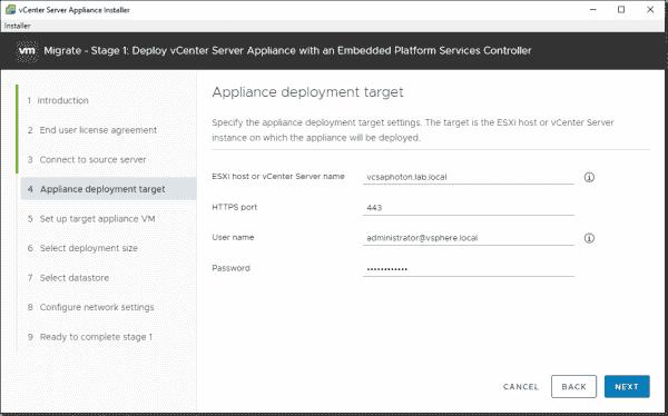 Appliance deployment target