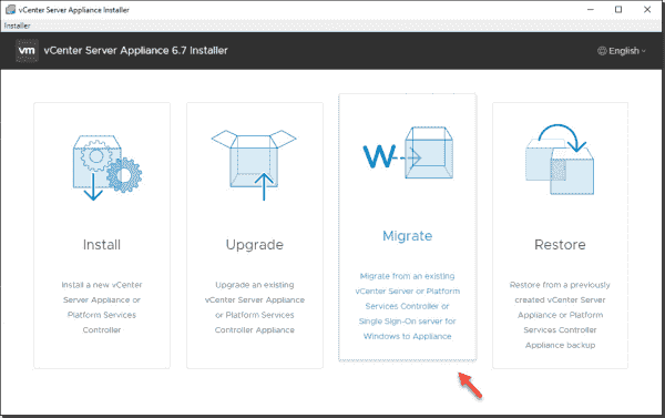 Choose Migrate from Windows